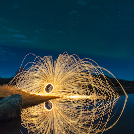 Aurora Borealis and Steelwoolspinning by Jens Andre Mehammer Birkeland - Abstract Fire & Fireworks ( reflection, steel wool, aurora borealis, northern lights, steelwool,  )