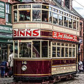 Shop at Binns by Andrew Lancaster - Transportation Other ( shop, vintage, binns, tram, transportation, beauty, landscape, people, railway, window, transport, motor, lines, light, trains )