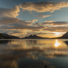 Reflections  by Geir Hammer - Nature Up Close Water ( clouds, water, mountain, midnight, waterscape, sunset, reflections, sea, sun )