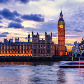 Thames river cruise by Florin Ihora - Buildings & Architecture Public & Historical ( thames, london, sunset, big ben, boat, evening )