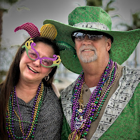 Couple at Mardi Gras Festival by Fran Gallogly - People Street & Candids ( costumes, street fair, iris, festival, party, pwccandidcelebrations )