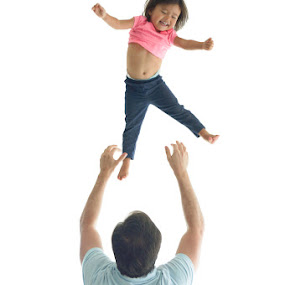 Toddler Tumbling by Erika Fisher - People Family ( toddler jumping, family, fathers, family time, toddlers )