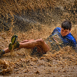 Managed ! by Marco Bertamé - Sports & Fitness Other Sports ( lying, splatter, differdange, splash, 2015, soup, luxembourg, muddy, blue, strong, watrer, brown, strongmanrun, man )