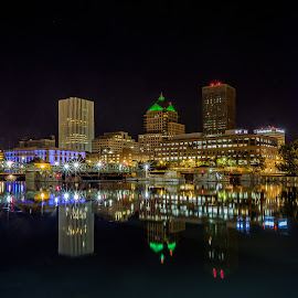 Reflecting on Rochester by John Witt - City,  Street & Park  Night ( city parks, riverside, new york, rochester, nightscape )