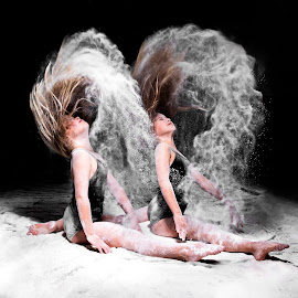 Twin flip by Patricia Konyha - People Musicians & Entertainers ( twins, dancers, flour splits, sisters )
