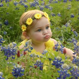 Kissyface in the Bluebonnets by Marie Burns - Babies & Children Child Portraits ( blue eyes, blubonnets, pucker, kissy face, flowers )