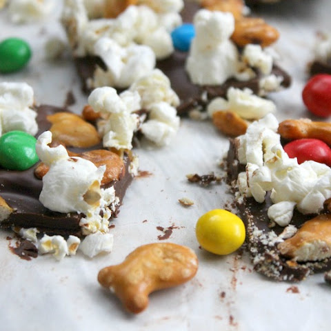 Chocolate Popcorn Pretzel Bark