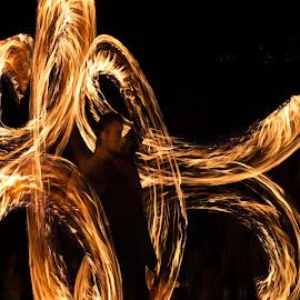 Fire show by Jeni Madjarova-Petrova - Abstract Light Painting ( night, show, painting, light, fire,  )