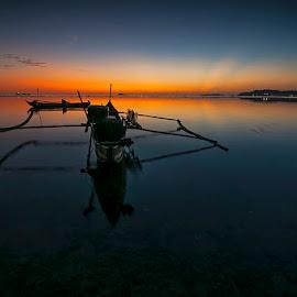 Silent by Adiyanto Rama - Transportation Boats ( waterscape, sunset, sea, canoe, beach )