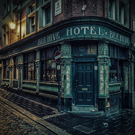 Newcastle's Bee Hive by Adam Lang - City,  Street & Park  Street Scenes ( lights, cobbled road, big market, street, night, newcastle, bar, pub, bee hive )