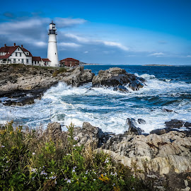 Portland Head light by George Petropoulos - Landscapes Travel ( waves, lighthouse, ocean, coastline, rocks )