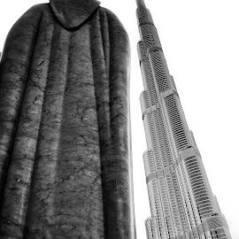 From another angle by Sergiu Chirilov - Buildings & Architecture Statues & Monuments ( building, statue, details, dubai, black and white, tallest building, travel, nikon, tallest, burj khalifa )