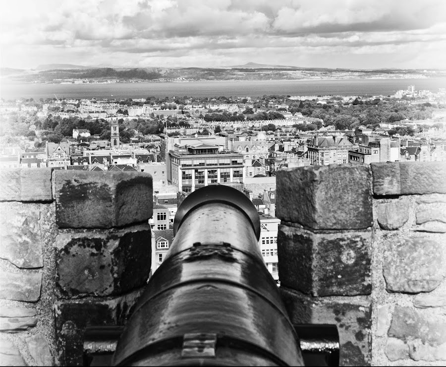 View from Edinburgh Castle Battlements by Stephanie Moore - Landscapes Travel ( canon, scotland, b&w, edinburgh, battlements, pwcbwlandscapes, landscape, edinburgh castle )