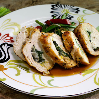 Chicken Rolls with Herbs and Green Onions and Roasted Green Beans with Chiles and Garlic