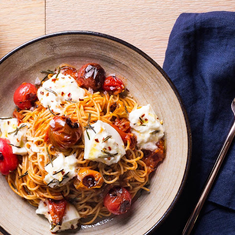 Pasta with Charred Tomatoes, Burrata and Rosemary Oil