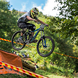 by Nick Moor - Sports & Fitness Cycling ( llangollen, racing, mtb, dh border line, jump )