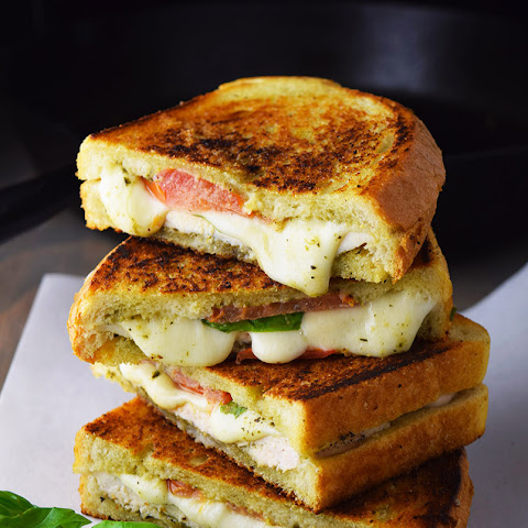 Cast Iron Chicken Pesto and Mozzarella Panini