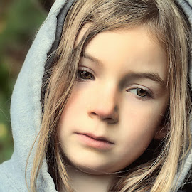 Sad Today by Sandy Considine - Babies & Children Child Portraits ( girl child, brown eyes, hoodie )