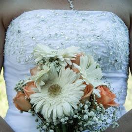 Bride and Bouquet by Shanna L Christensen - Wedding Bride ( pose, bouquet, bridde, wedding, beauty, close up )