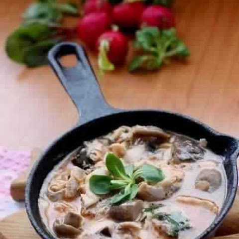 Mackerel Braised In Tomato And Mushrooms Sauce