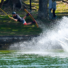 Water Skiing by Thibavel Selvarajoo - Sports & Fitness Watersports ( watersports, sports, east coast park, water skiing, singapore )