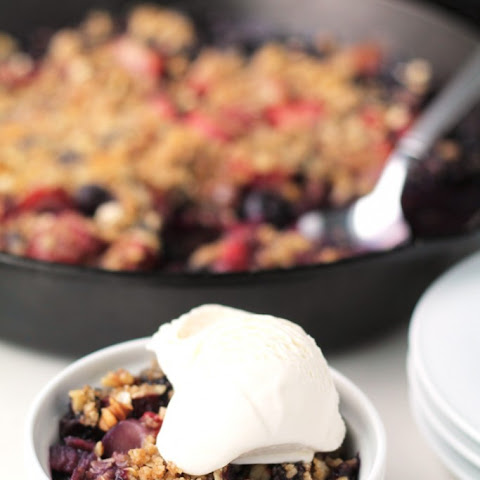 Mixed Berry and Rhubarb Skillet Crisp
