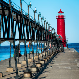 Grand Haven Light #1 by Jebark Fineartphotography - Buildings & Architecture Public & Historical ( michigan, red, lighthouse, pier, lake, seascape, beacon, jetty )