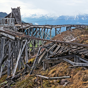 Alaskan Mine Train Ruins by Jim Czech - Buildings & Architecture Public & Historical ( alaska, mine, hdr, , time scars, bridge )