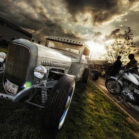 Hotrod Hooligans by Matthias Weigel - Transportation Automobiles ( ride, classic car, bike, hdr, sunset, hotrod, oldtimer )