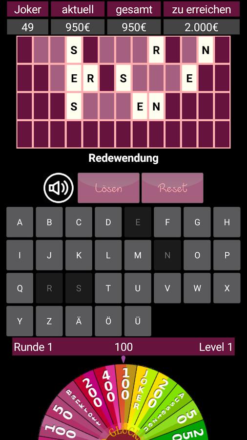 glücksrad spiel deutsch