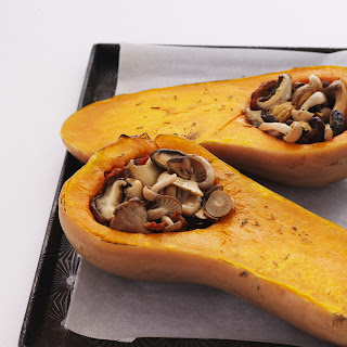 Roasted Butternut Squash with Wild Mushroom Stuffing