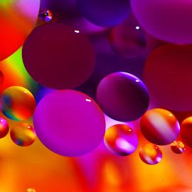 by Carole Pallier Cazzazsnapz - Abstract Macro ( water, abstract, orange, circles, macro, purple, drops, colours )