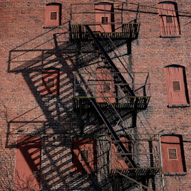 Shadows by Karen Harrison - Buildings & Architecture Decaying & Abandoned ( building, stairs, shadow, architecture, shadows,  )