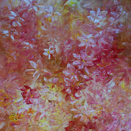 Sunny Garden by Rhonda Lee - Painting All Painting ( unique, texture, art, beautiful, yellow, pretty, spring, impasto, sunny, summer, rokinronda, pink, artist, painting, floral, flower )