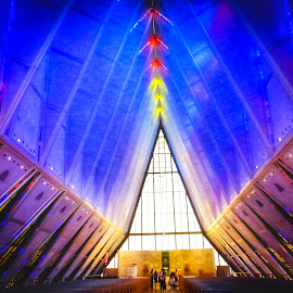 US Navy Army's Chapel  by Nelida Dot - Buildings & Architecture Places of Worship ( army, building, blue, architecture, navy, chapel, symmetry, light )