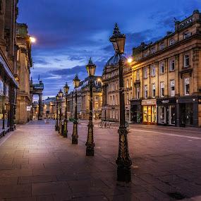 Grey Street by Adam Lang - City,  Street & Park  Historic Districts ( england, city, street, grey street, night, newcastle, lamp,  )