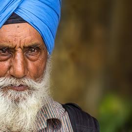 by John Anderson - People Portraits of Men ( elder, old, blue, punjabi, turbin, man )