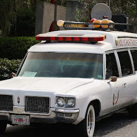 Who Ya Gonna Call? by Shari Linger - Transportation Automobiles ( ghostbusters, movies, who ya gonna call, old cars, hearse )