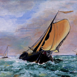 Old Dutch by Bob Has - Painting All Painting ( water, vessel, old, boats, painting )