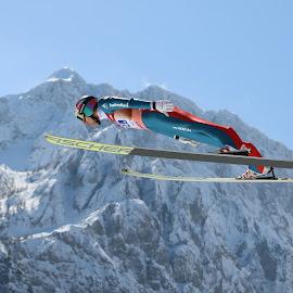 Gregor Deschwanden flying in Planica by Igor Martinšek - Sports & Fitness Snow Sports