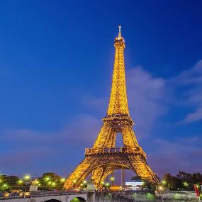 Dusk By The Eiffel by Ioannis Alexander - Buildings & Architecture Public & Historical ( paris, eiffel tower, long exposure,  )