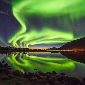 Sunset and Aurora by Jens Andre Mehammer Birkeland - Landscapes Starscapes ( reflection, mountain, sunset, aurora borealis, sea, light,  )