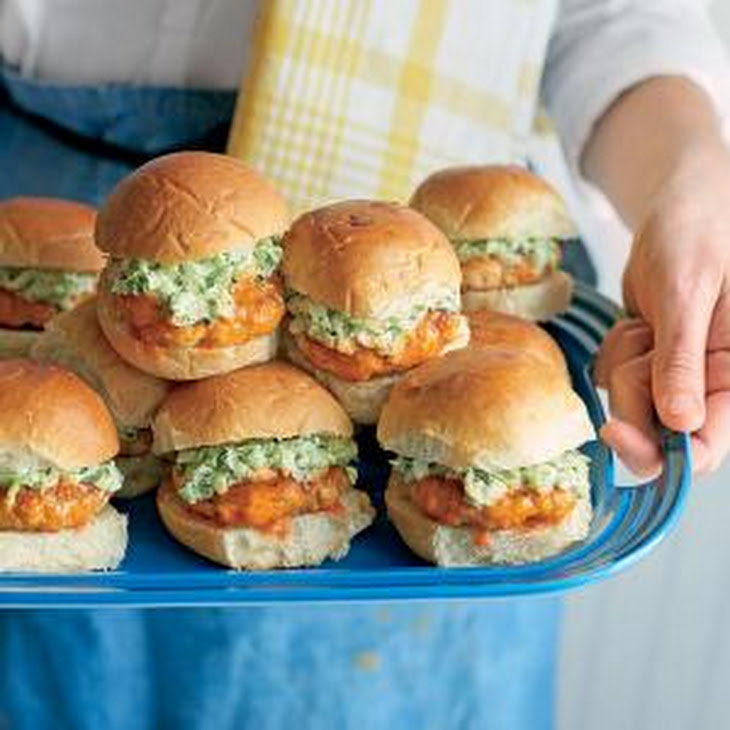 Buffalo Chicken Sliders with Celery-Ranch Slaw Recipe | Yummly