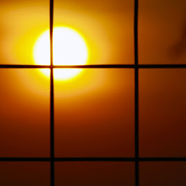 space-time coordinates  by Mihai Nita - Abstract Patterns ( abstract, squares, sun, orange light,  )
