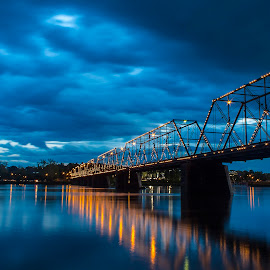 People's Bridge by László Gecző - Buildings & Architecture Bridges & Suspended Structures ( lights, blue hour, sunset, bridge, river,  )
