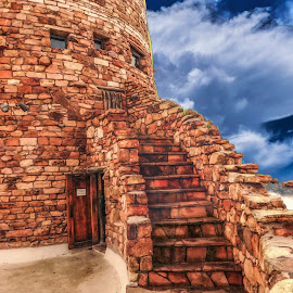 Indian Tower by Dave Walters - Buildings & Architecture Statues & Monuments ( clouds, digital art, indian tower, archiecture, grand canyon )