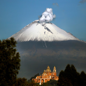 volcano with church by Alfredo Garciaferro Macchia - Landscapes Mountains & Hills