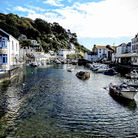Memories Of Cornwall  by Ian Popple - Landscapes Travel ( water, polperro, harbour, boats, seaside, cornwall )