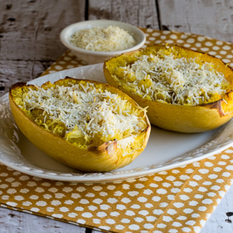 Roasted Spaghetti Squash with Mizithra Cheese and Browned Butter