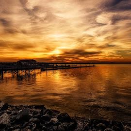 Amber by Linda Karlin - Landscapes Sunsets & Sunrises ( sunset, landscape )